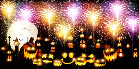 ハロウィン 花火 かぼちゃ 背景