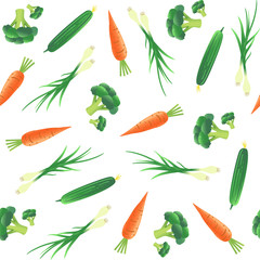 Seamless pattern  with vegetables. Carrot, cucumber, onion and broccoli. Vector illustration