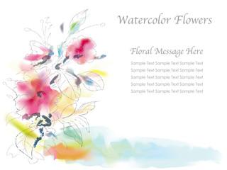 水彩風 花の背景イラスト