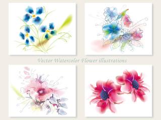 水彩風 花のイラストセット