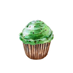 Saint Patricks day cupcake, watercolor illustration in hand-drawn style isolated on white background.