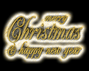 Golden text on black background. Merry Christmas and Happy New Year lettering for invitation and greeting card, prints and posters. Hand drawn inscription, calligraphic design.