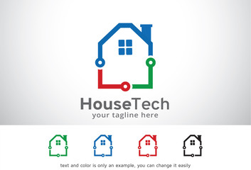 House Tech Logo Template Design Vector, Emblem, Design Concept, Creative Symbol, Icon