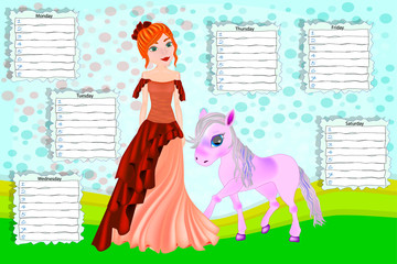 Poster School timetable for children with days of week. Color cartoon princess and her little pony