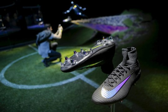 Soccer boots made by Nike are displayed during an unveiling event in New York