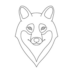 Isolated black outline head of wolf on white background. Line cartoon portrait.