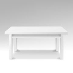 White Empty Square Table. Isolated Furniture, Platform. Realistic Vector Illustration.