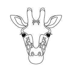 Isolated black outline head of giraffe on white background. Line cartoon face portrait.