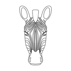 Isolated black outline head of zebra on white background. Line cartoon portrait.
