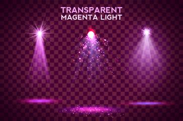 Obraz Transparent magenta lighy effects on a dark background. Spotlights, flare, explosion and stars. - fototapety do salonu