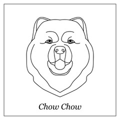 Isolated black outline head of chow chow on white background. Line cartoon breed dog portrait.