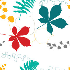 Vector floral seamless pattern with  chestnut tree , ivy and fern leaves outlines.
