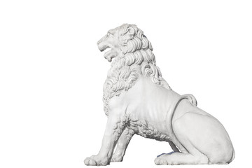 Sculpture of a lion on the Lion Bridge in St. Petersburg, Isolated on white