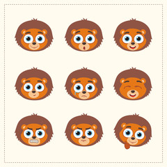 Set funny face lion different emotion. Collection emoticons of cartoon lion isolated.