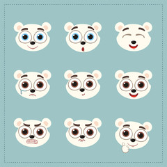 Set funny face polar bear different emotion. Collection emoticons of cartoon polar bear isolated.