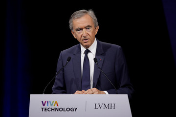 Bernard Arnault, Chairman and CEO of LVMH Moet Hennessy Louis Vuitton SE, delivers a speech at the Viva Technology conference in Paris