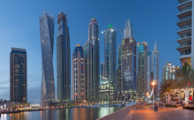 DUBAI, UAE - MARCH 22, 2017: The evening Marina towers.