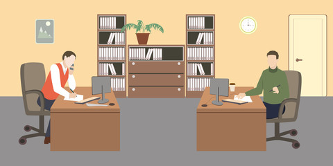 People in room. Office life. Flat style vector illustration. Situation in office. Workplace. Two men in office. Office interior.
