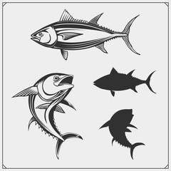 Vector illustrations of Tuna. Monochrome design.