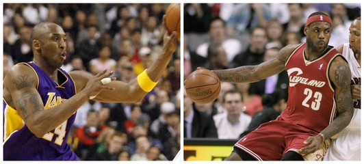 A combination photo showing LeBron James and Kobe Bryant during their NBA basketball games in Toronto
