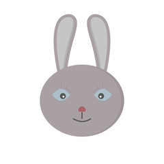 Head gray funny rabbit with long ears on white background. Vector isolated illustration.