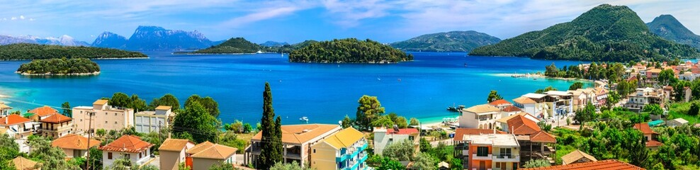 Panoramic view of Nidri bay, beautiful Lefkada island. Greece
