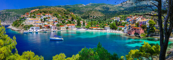 Poster de jardin Ile colorful Greece series - colorful Assos with beautiful bay. Kefalonia island