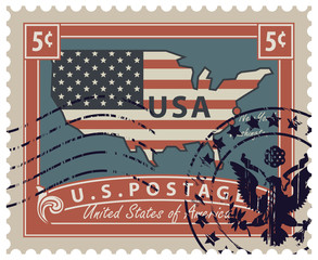 Map of America in colors of the national flag with inscription. Vector illustration of a 5-cent USA postage stamp with a rubber stamp in retro style.
