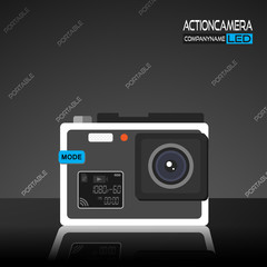 Promotion vector poster of action camera with white body and blue button of menu and reflection on the dark gray background with a pattern of words.