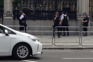 Police officers detain a man outside the Palace of Westminster, in central London