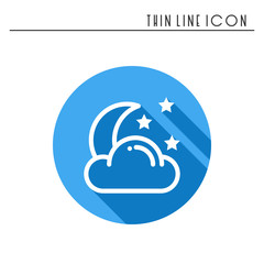 Moon night line simple icon. Weather symbols. Dream, sleep. Design element. Template for mobile app, web and widgets. Vector style linear icon. Isolated illustration. Flat sunlight, sign. Logo.