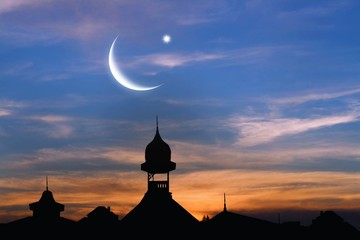 Old city at sunset . Muslim abstract greeting banners.  Mosque at sunset .  City landscape