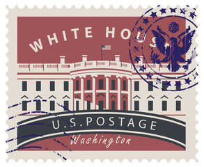 Postage stamp with inscriptions and the image of the US Capitol in Washington DC. Vector illustration White house in Washington with rubber stamp.