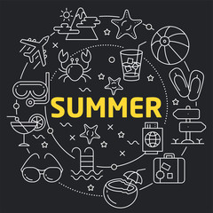 Linear illustration for presentations in the round summer