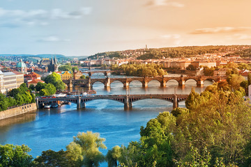 Photo sur cadre textile Prague Prague Bridges in the Summer on the Sunset. Czech Republic.