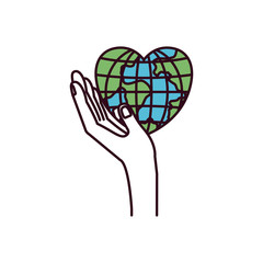 silhouette color sections side view hand holding in palm a earth globe world in heart shape vector illustration
