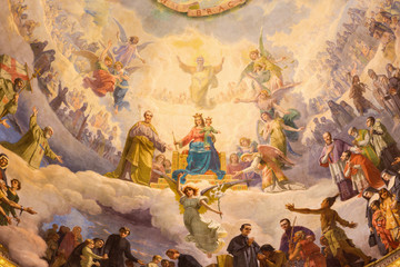 Wall Mural - TURIN, ITALY - MARCH 15, 2017: The detail of fresco Mary Help of Christians in cupola of church Basilica Maria Ausiliatrice by Giuseppe Rollini (1889 - 1891).