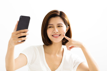 young women making selfie by  smart phone.