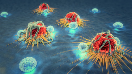 3d illustration of cancer cells and lymphocytes
