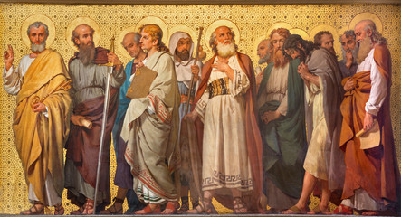 Wall Mural - TURIN, ITALY - MARCH 15, 2017: The symbolic fresco of Twelve apostles  in church Chiesa di San Dalmazzo by Enrico Reffo (1914).