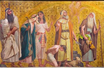 TURIN, ITALY - MARCH 15, 2017: The symbolic fresco of patriarchs Moses, Joseph, Abraham and Josue in church Chiesa di San Dalmazzo by Enrico Reffo and Luigi Guglielmino (1916). Fotomurales