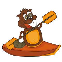 Cartoon beaver with canoe.  Vector clip art for children.