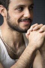 portrait of handsome dark-haired man smiling