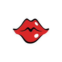 Kissing female mouth with red lips