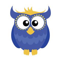Blue cartoon owl