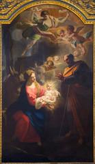 TURIN, ITALY - MARCH 13, 2017: The painting of Nativity in Duomo by Giovanni Comandu da Mondovi (1795).