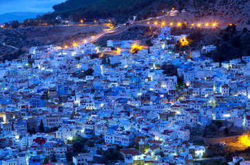 Medina of Chefchaouen city at sunset in Morocco, Africa