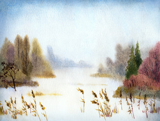 Watercolor landscape. Winter lake