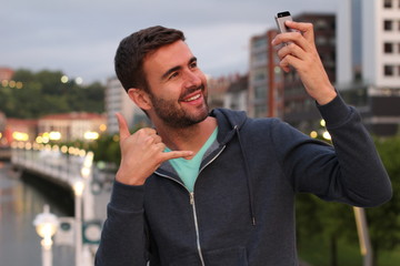 Narcissist male taking a selfie
