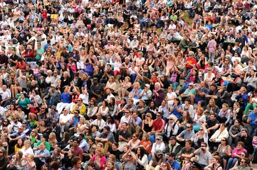 Men's Singles - General view as fans on Henman Hill watch Great Britain's Andy Murray's quarter final match on a big screen outside centre court